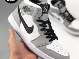 Giày Nike Jordan 1 Mid trắng xám nam nữ hàng chuẩn sfake replica 1:1 real chính hãng giá rẻ tốt nhất tại NeverStopShop.com HCM