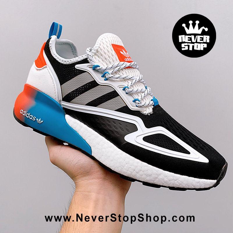 Giày thể thao Adidas ZX 2K Boost Đen Cam Xanh chuyên chạy bộ tập gym, nam nữ sfake replica giá rẻ tốt nhất HCM