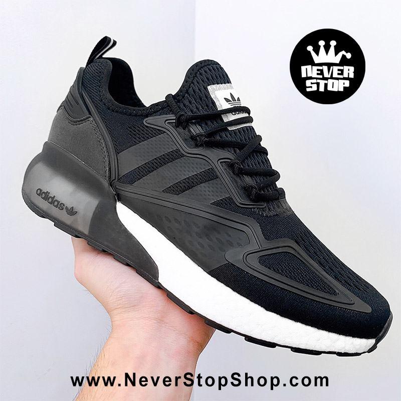 Giày thể thao Adidas ZX 2K Boost Đen Trắng chuyên chạy bộ tập gym, nam nữ sfake replica giá rẻ tốt nhất HCM