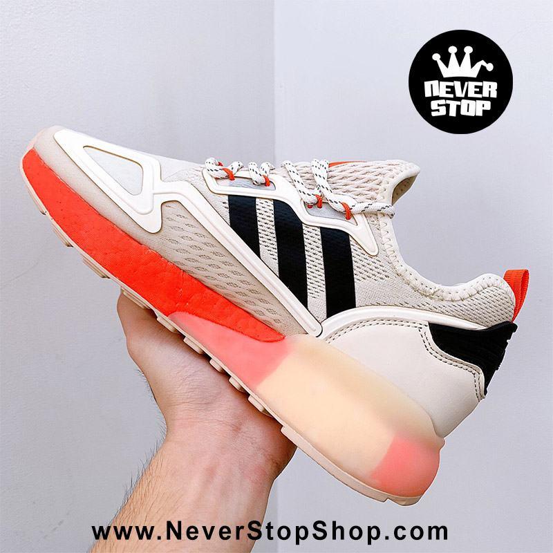 Giày thể thao Adidas ZX 2K Boost Cam Kem chuyên chạy bộ tập gym, nam nữ sfake replica giá rẻ tốt nhất HCM