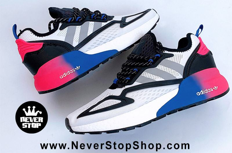 Giày thể thao Adidas ZX 2K Boost Trắng Xanh Tím chuyên chạy bộ tập gym, nam nữ sfake replica giá rẻ tốt nhất HCM