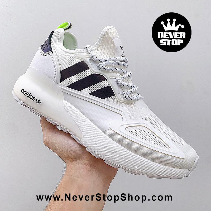 Giày thể thao Adidas ZX 2K Boost Trắng Sọc Đen chuyên chạy bộ tập gym, nam nữ sfake replica giá rẻ tốt nhất HCM