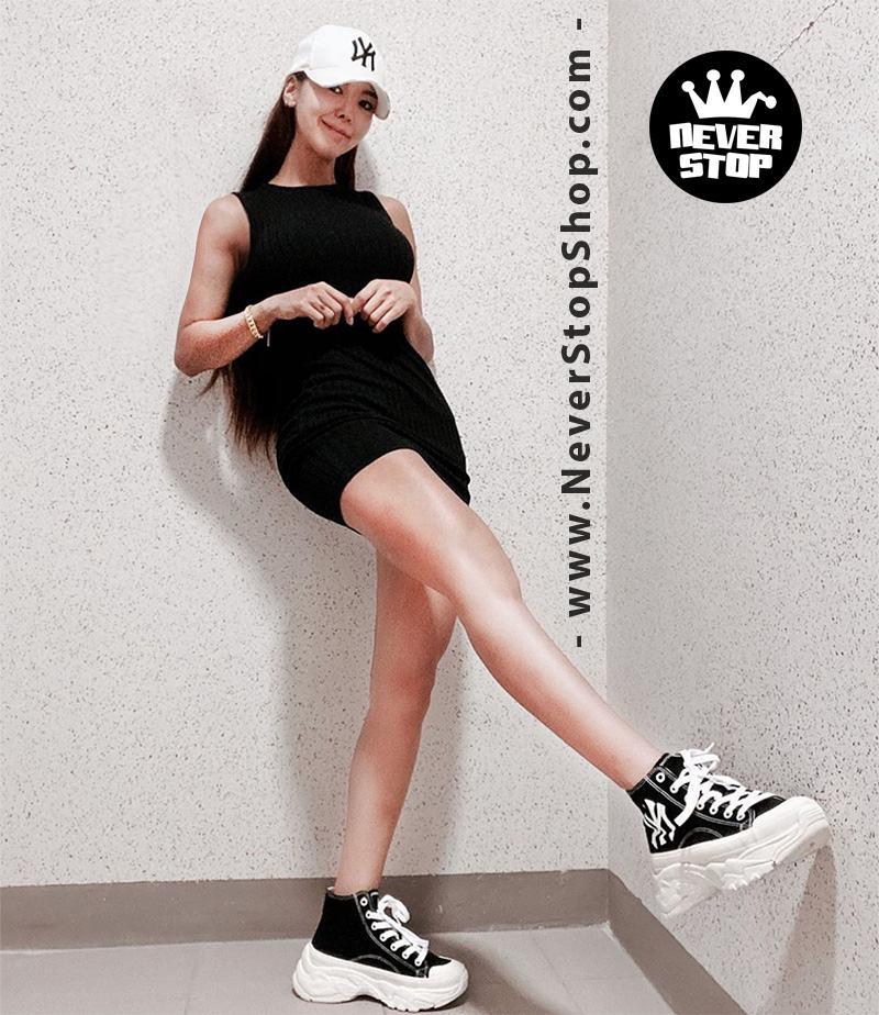 Giày MLB Chunky High Yankees màu đen cổ cao hàn quốc nam nữ sfake replica chính hãng giá rẻ HCM