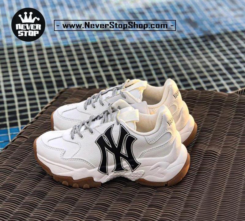 Giày chữ NY trắng nâu MLB Yankees Embo korea hàn quốc nam nữ sfake replica chính hãng giá rẻ HCM
