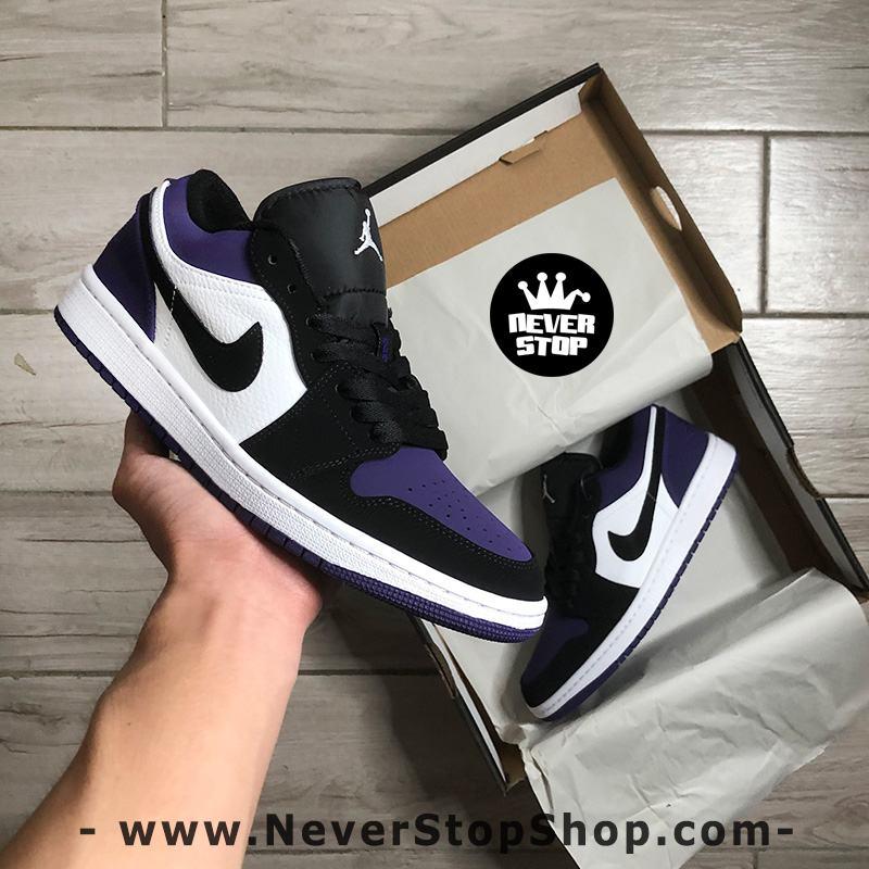 Giày bóng rổ NIKE AIR JORDAN 1 LOW BLACK PURPLE nam nữ hàng đẹp chuẩn sfake replica giá rẻ tốt nhất HCM