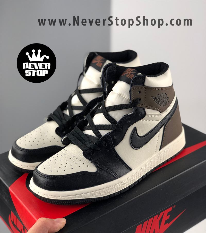 Giày bóng rổ NIKE AIR JORDAN 1 nâu trắng cổ cao nam nữ hàng đẹp chuẩn sfake replica giá rẻ tốt nhất HCM