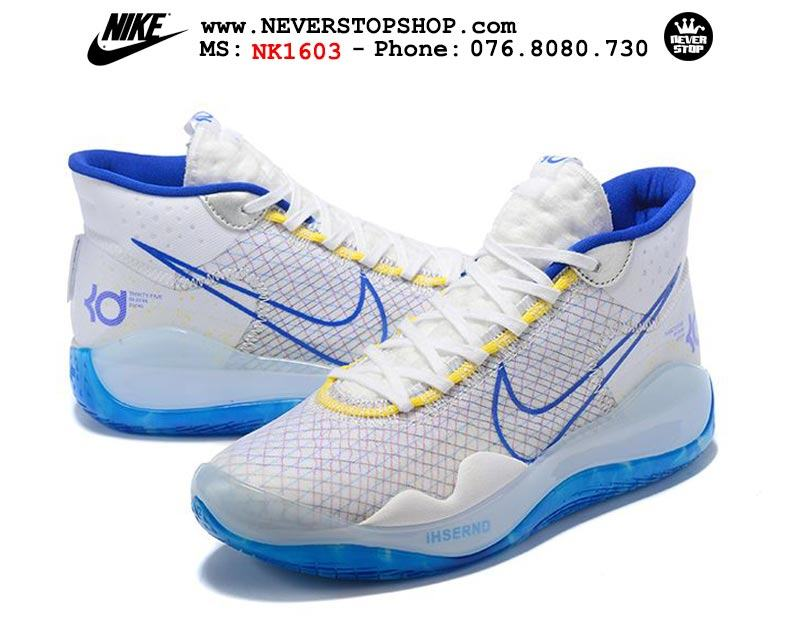 Giày bóng rổ NIKE KD 12 Warriors White Blue hàng đẹp chuẩn sfake replica giá rẻ tốt nhất HCM