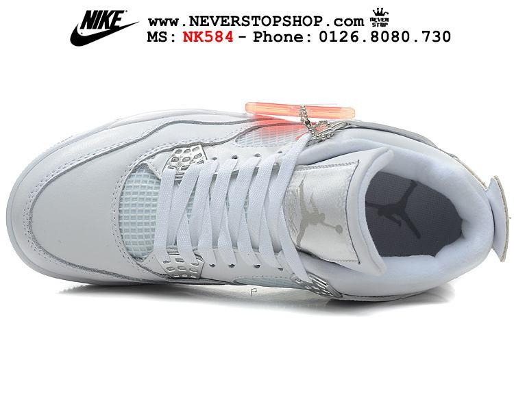 Giày Nike Jordan 4 All White trắng sfake replica giá rẻ HCM